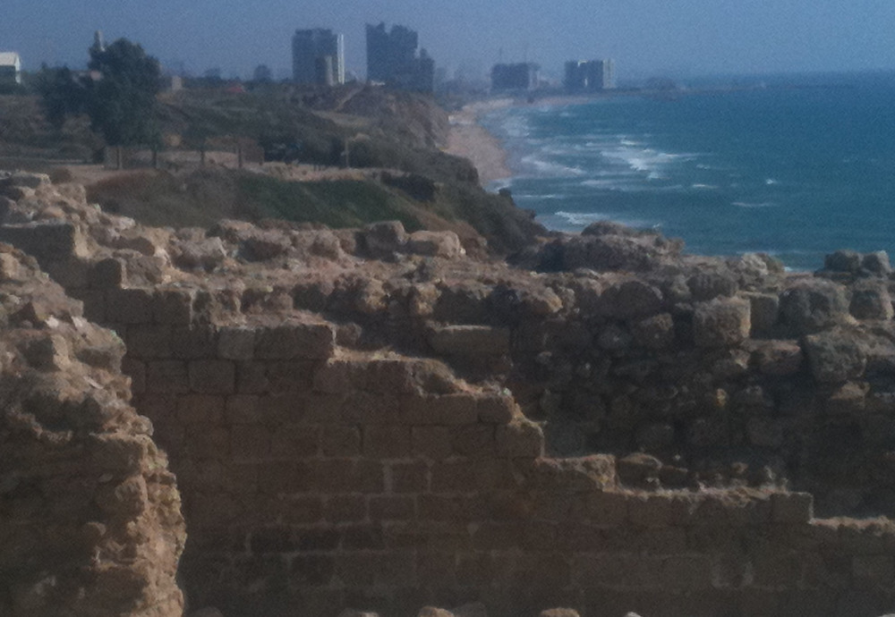 The view south from the fortress, with Herzliya, then Tel Aviv in the distance.