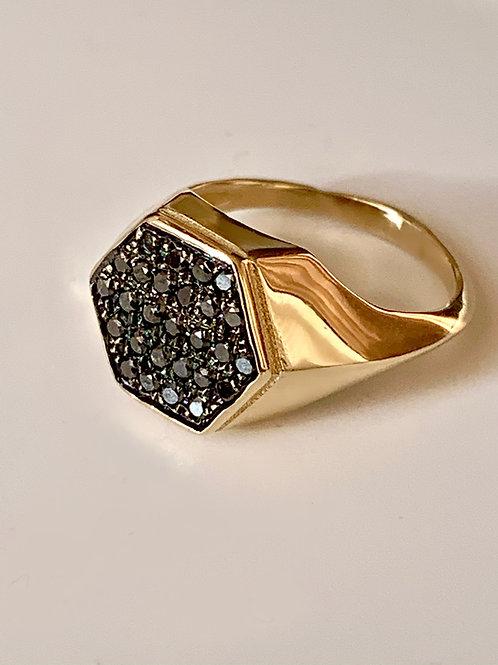 טבעת בי ריי זהב משובצת