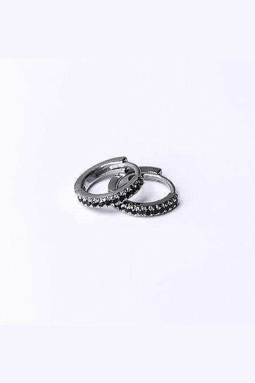 עגיל ג׳וזי משובץ יהלומים שחורים