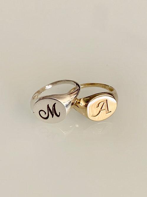 טבעת חותם עגולה מזהב