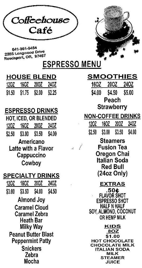 Reedsport Coffeehouse Cafe Espresso Menu