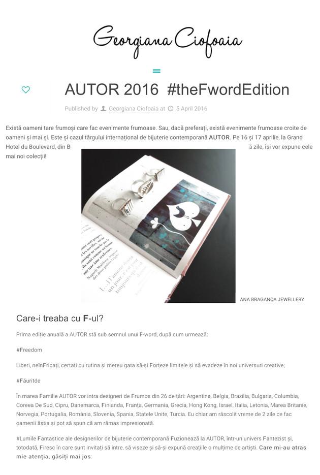 """AUTOR 2016  #theFwordEdition"" , Blog ""Georgiana Ciofoaia"""
