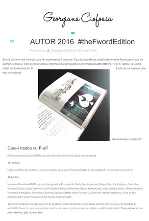 """AUTOR 2016 ­ #theFwordEdition"" , Blog ""Georgiana Ciofoaia"""