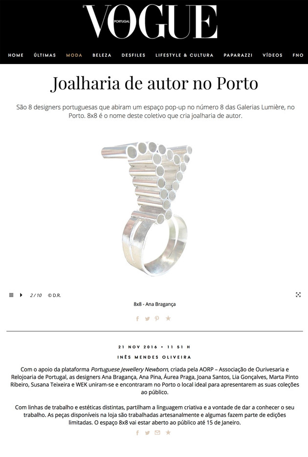 """""""Joalharia de Autor no Porto"""", Vogue Portugal"""