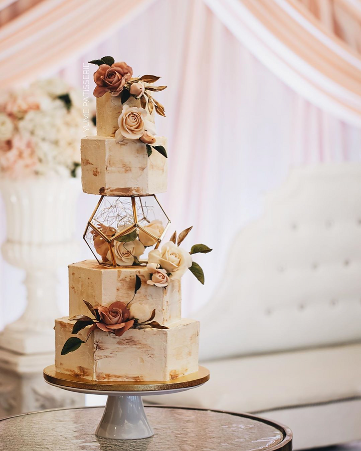 Edible Vintage Wedding Cake by Chef Amber Yume Patisserie