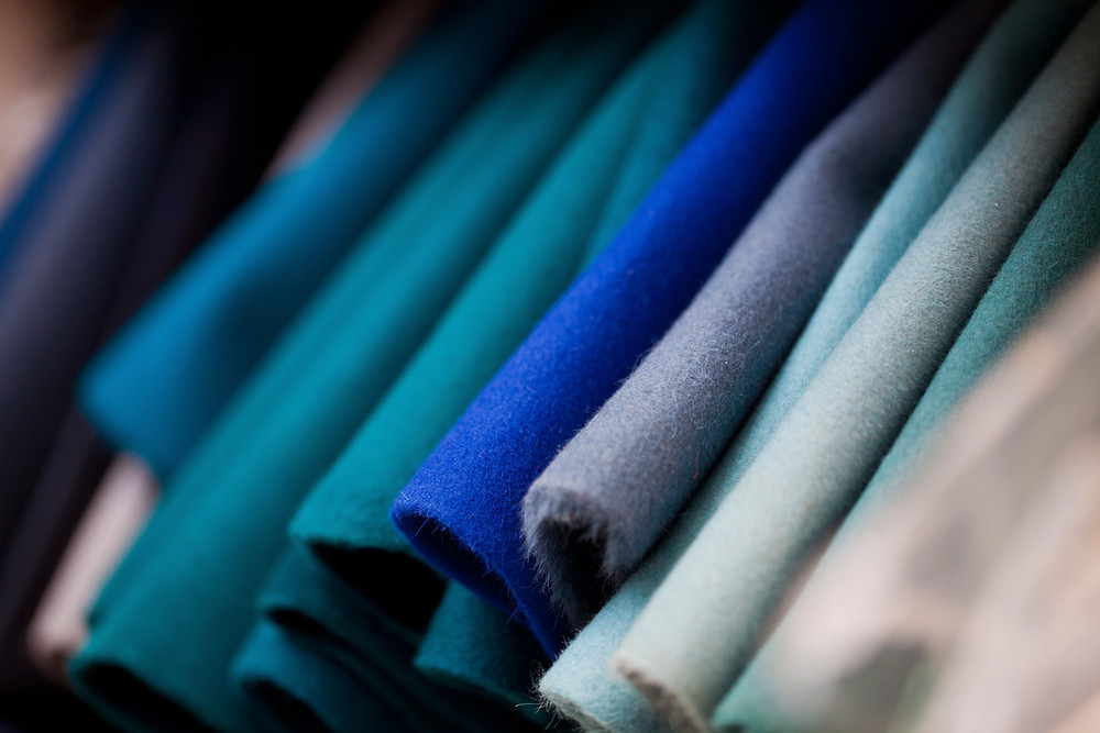 pieces of blue fabric