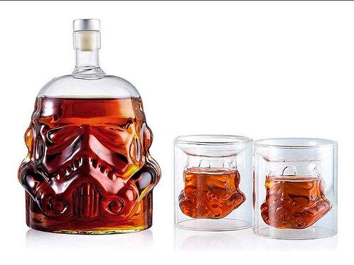 Stormstrooper Bottle Decanter and 2 Shot Glasses Set