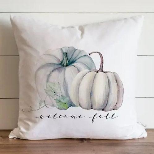 """Welcome Fall Pumpkins Pillow - 18"""" x18"""""""