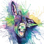 donkey, donkey painting, watercolour painting, donkey watercolour