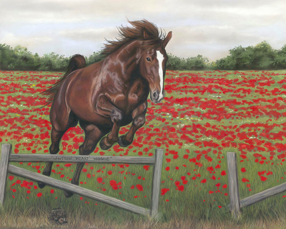 Horse portrait in pastels of a bay horse jumping over a fence with poppy fields in the background
