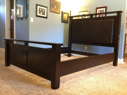 Custom Alder bed with leather