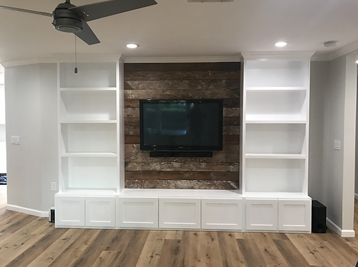 built-in with reclaimed wall