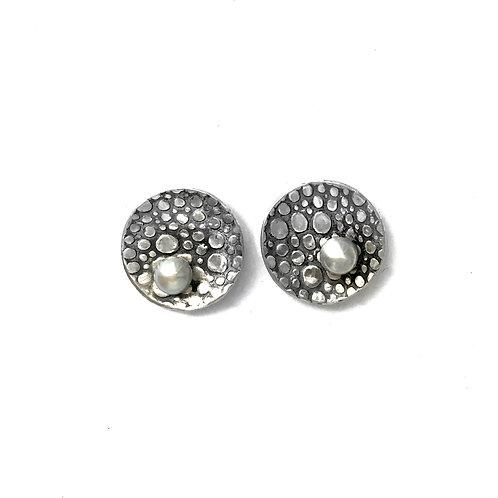 Rain Puddle Pearl Post Earrings