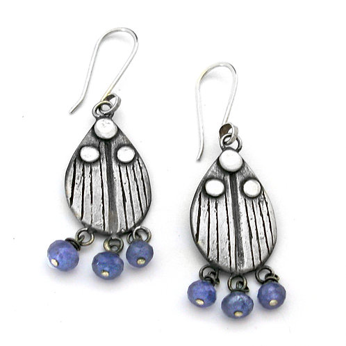 Tanzanite Ladybug Earrings