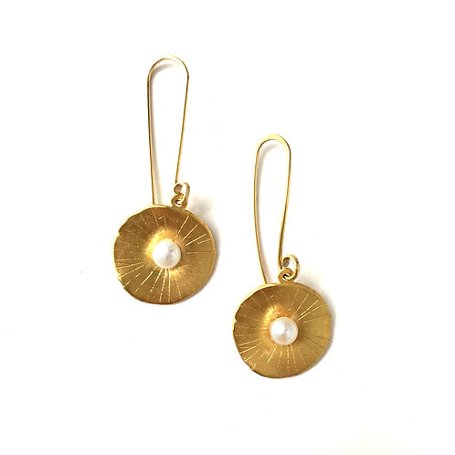 14k gold vermeil Sand Dollar Pearl Earrings