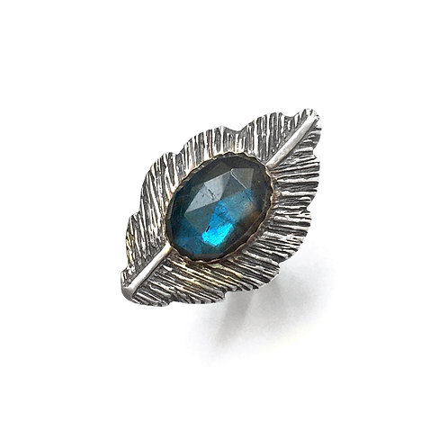 One of a Kind Labradorite Feather Echo Ring