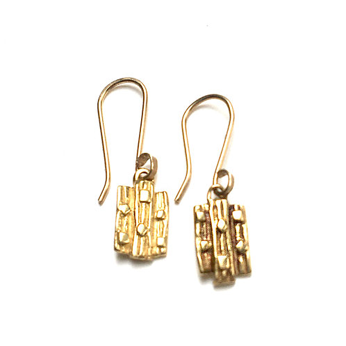 14k gold vermeil Reclaimed Short Plank Earrings