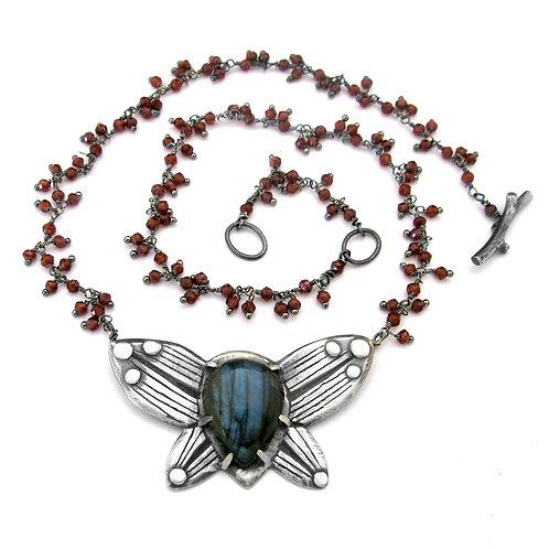 Labradorite Garnet Cluster Ladybug Love Bug Necklace
