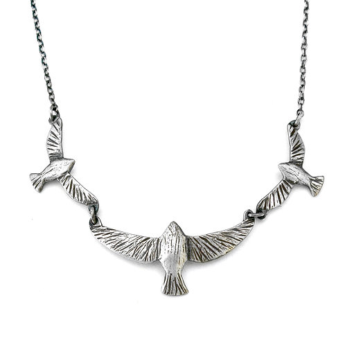 Mama and two Babies Soaring Bird Necklace