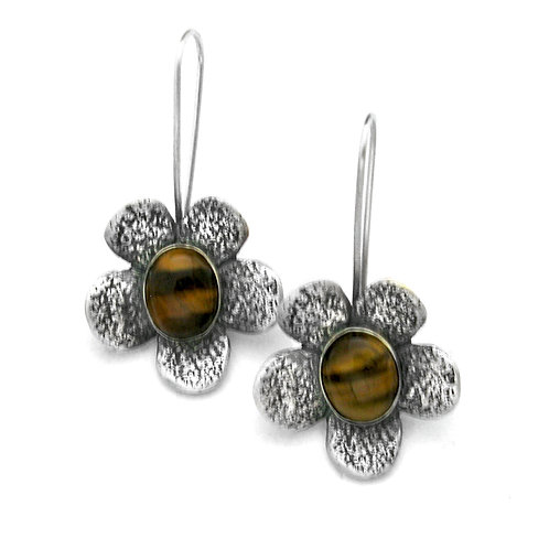 Tiger's Eye Five Petal Earrings
