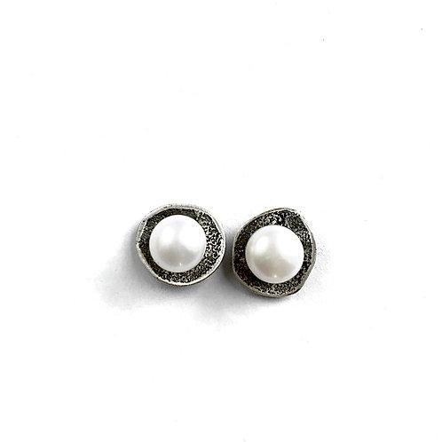 River Rock Open Pearl Post Earrings