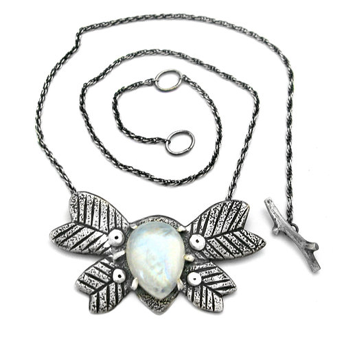 Moonstone Moth Love Bug Necklace