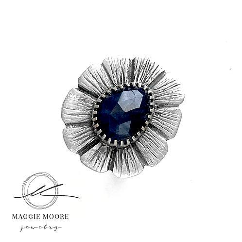 Blue Sapphire Strength Flower Ring