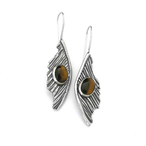 Tiger's Eye Feather One of a Kind Earrings
