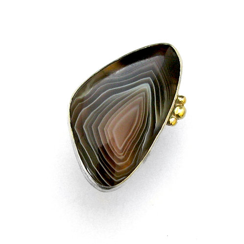 One of a Kind Botswana 18 Gold Ball Silver banded Ring