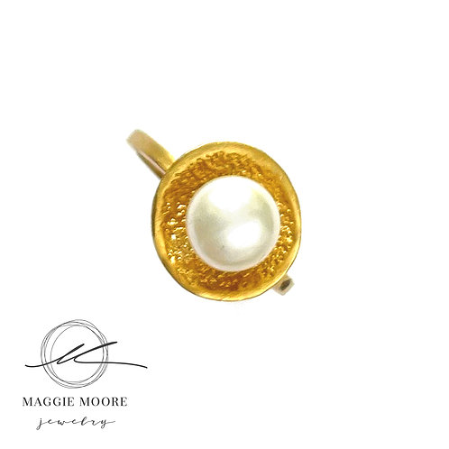 One of a Kind 14k gold vermeil River Rock Pearl Ring