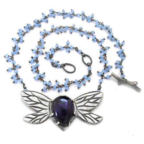Amethyst Lavender Cluster Honey Bee Love Bug Necklace