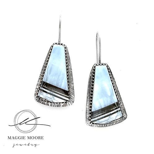 Blue Opal Healing Heart Earrings