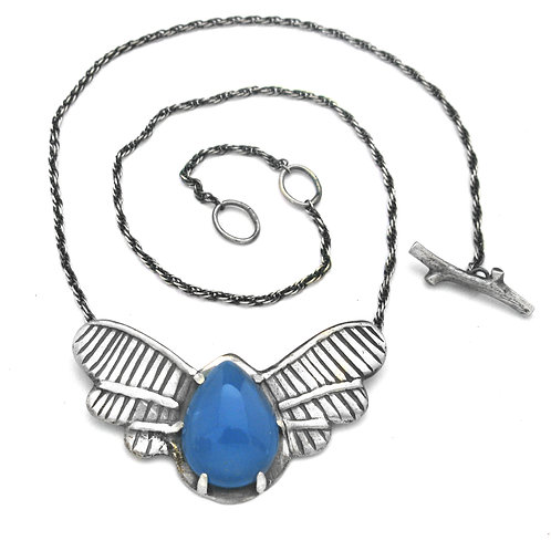 Blue Chalcedony Beetle Love Bug Necklace