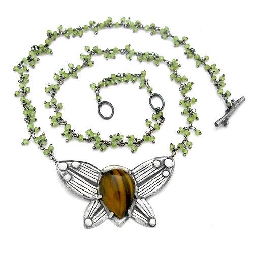 Tiger's Eye Peridot Cluster Ladybug Love Bug Necklace