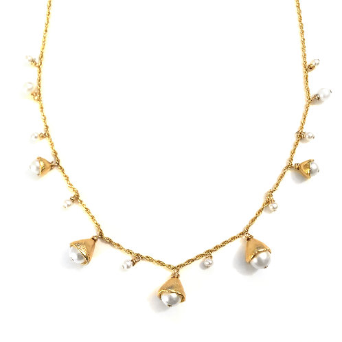 14k gold vermeil Dew Drop Pearl Necklace