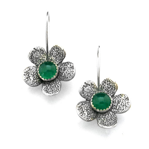 Green Onyx Five Petal Earrings