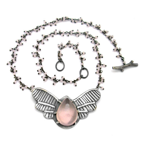 Rose Quartz Cluster Beetle Love Bug Necklace