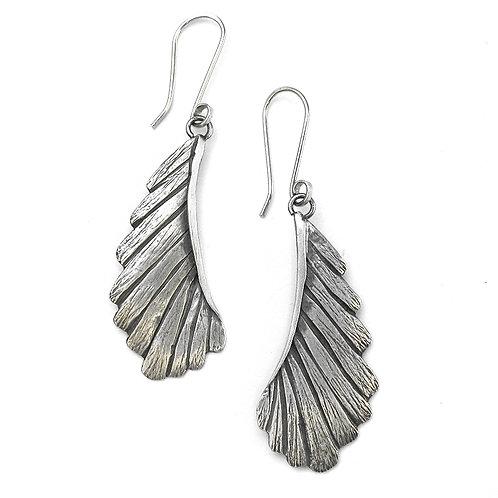 Fine Silver Large Feather Earrings