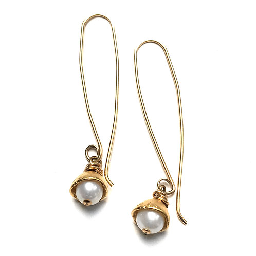 14k gold vermeil Petite Dew Drop Pearl Earrings