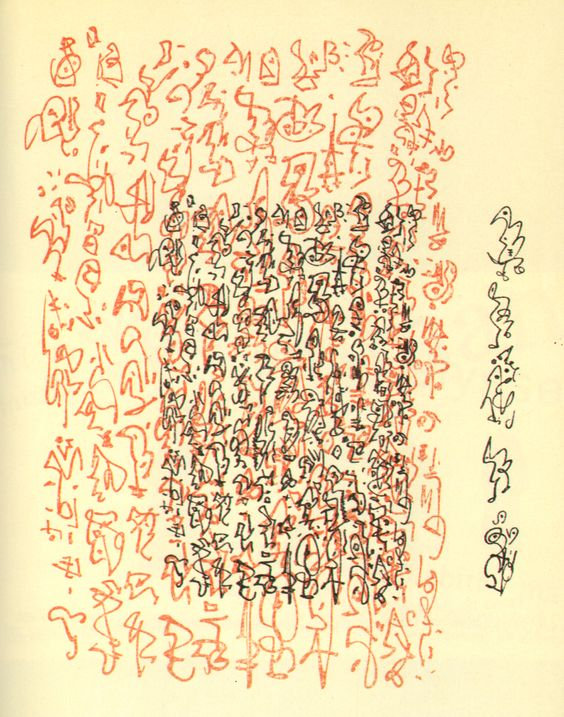 max ernst asemic ideograms writing drawing