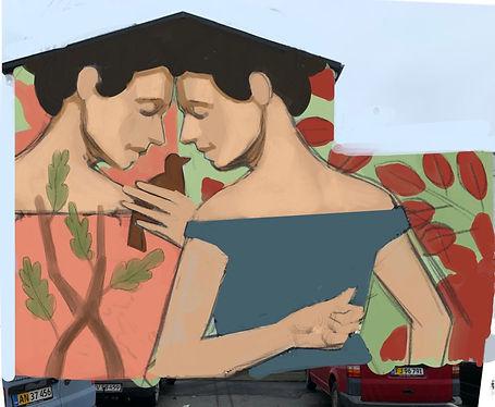 Skitse til genforeningen maleri, lavet af graffitikunstner Andreas Welin i Haderslev, 2020