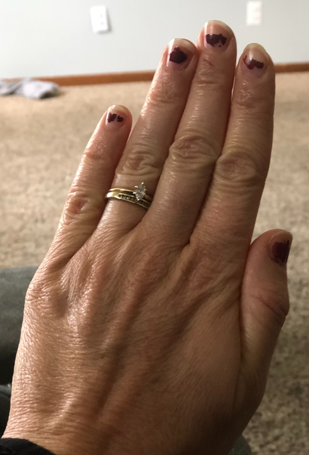 Partially painted finger nails