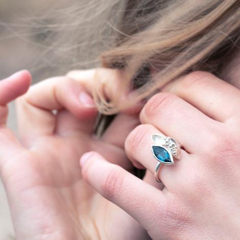 London Blue Topaz Barnacle Ring