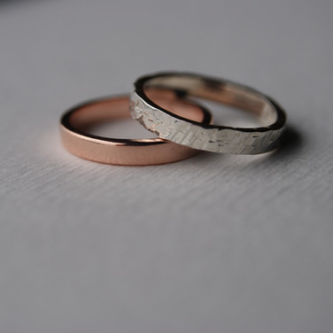 Rose Gold Plated and Silver Bands