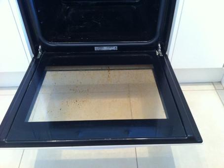 Clean oven - baking soda, vinegar & dishwasher detergent!