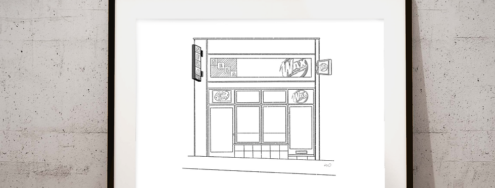 SELA/WAX Bar illustration - black and white