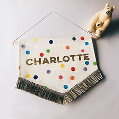 Rainbow polka dot name banner with gold trim