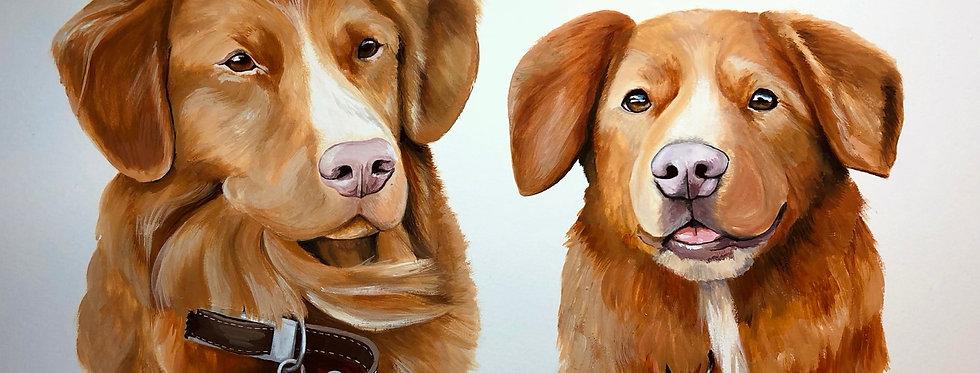 Personalised Pet Portrait A4 - 2 pets