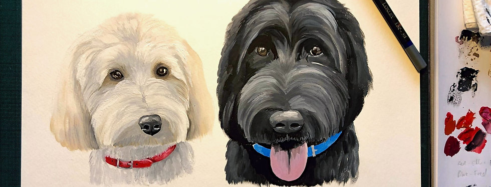 Personalised Pet Portrait A4 - 2 pets