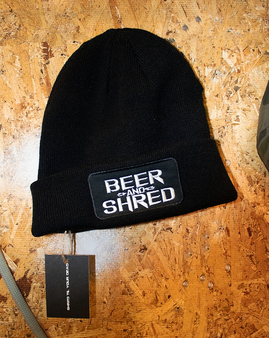 Beer And Shred Fold-Up Beanies.